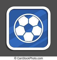 Fútbol azul plano icono de la web cuadrada