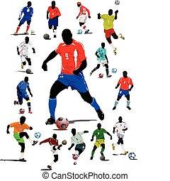fútbol, cartel, futbol, player., col