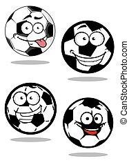 Fútbol de dibujos animados o mascotas de pelotas de fútbol