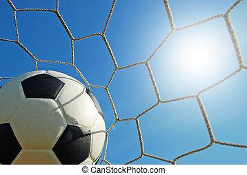 Fútbol estadio de fútbol en el deporte del cielo azul de hierba verde