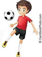 fútbol, juego, hombre, joven