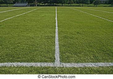 fútbol, líneas, campo, límite, blanco, juego