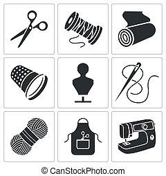 fabricación, conjunto, ropa, costura, iconos