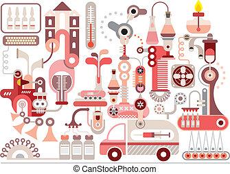 fabricación, laboratorio, investigación, farmacéutico