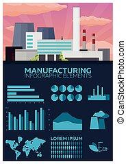 Fabricación y elementos de información industrial. Ilustración plana.