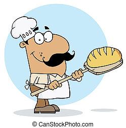 fabricante, hombre hispano, caricatura, bread