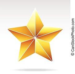 faceted, estrella del oro, vector