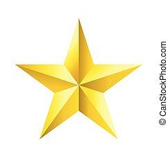 faceted, estrella, oro, vector