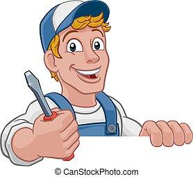 factótum, caricatura, mecánico, plomero, electricista