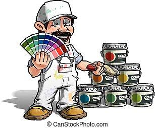 factótum, color, -, uniforme, escoger, blanco, pintor
