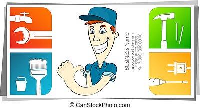 factótum, concepto de la corporación mercantil, tarjeta, caricatura, alegre