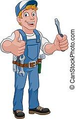 factótum, electricista, mecánico, caricatura, plomero