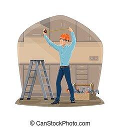 factótum, herramientas, trabajo, carpintero, o, reparación