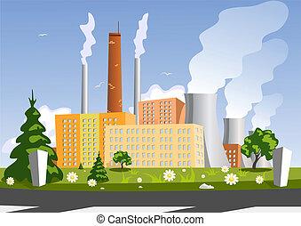 Factoría, ilustración vectora
