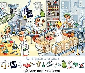 factory., objetos, hallazgo, imagen, 15, farmacéutico