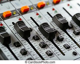 faders, estudio, grabación