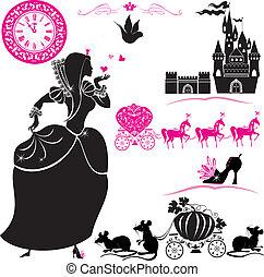 Fairytale Set - Siluetas de Cenicienta, Pumpkin carruaje con ratones, castillo y reloj.