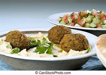 falafel, hummus, árabe, ensalada