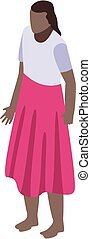 falda, africano, icono, isométrico, mujer, estilo