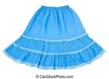 falda, llamarada, algodón, azul