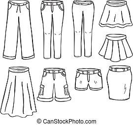 faldas, pantalones
