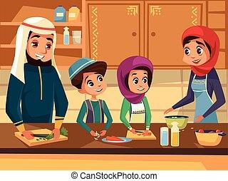 Familia árabe cocinando juntos en vector de cocina dibujos animados planos de los musulmanes preparando comidas en ropa árabe