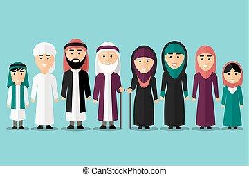 Familia árabe. Personajes musulmanes planos