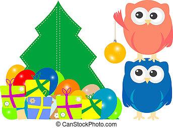 Familia Búho en feliz tarjeta de Navidad