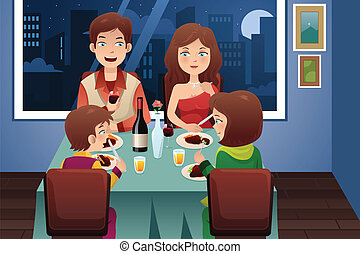 Familia cenando en una casa moderna