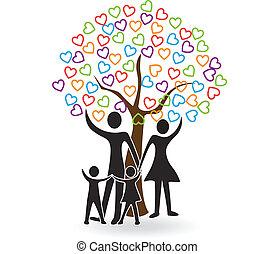 Familia con árbol de corazones logo