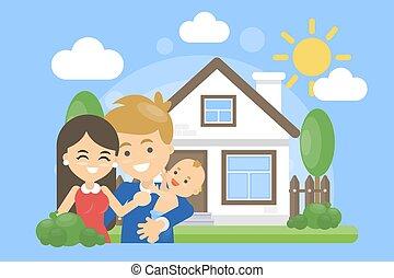 Familia con casa.