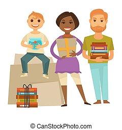 Familia con regalos para la fiesta de inauguración de la casa ilustración aislada