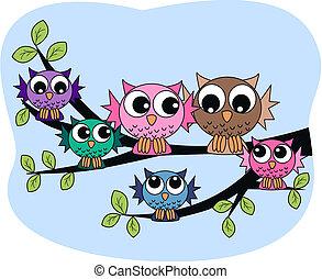 Familia de búhos coloridos