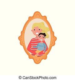 familia , de madera, marco de la foto, hijo, ilustración, vector, plano de fondo, madre, retrato, blanco
