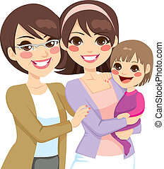 Familia de tres generaciones jóvenes