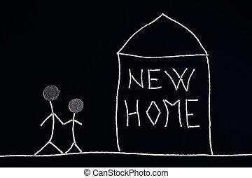 Familia disfrutando de nuevo hogar, concepto inusual