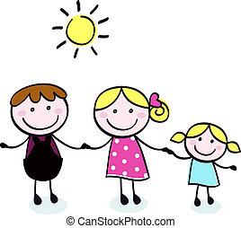 Familia Doodle - madre, padre y niño aíslan en blanco