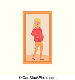 familia , embarazada, de madera, marco de la foto, ilustración, vector, plano de fondo, mujer, retrato, blanco