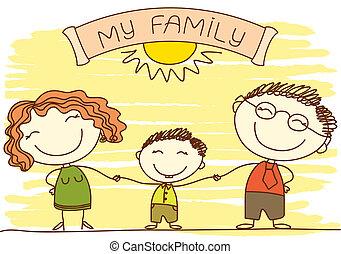 Familia en blanco. Vector padres felices y texto.