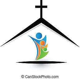 Familia en el logo de la iglesia
