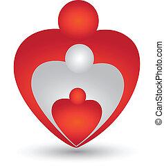 Familia en forma de corazón vector de logo
