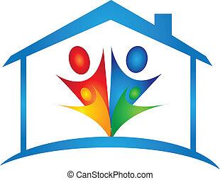 Familia en un nuevo vector de logotipo