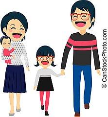 Familia feliz asiática caminando