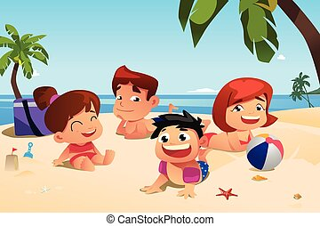 Familia feliz divirtiéndose en la playa