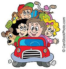 Familia feliz en auto de vacaciones
