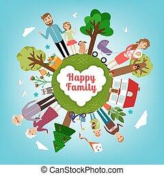 Familia feliz en toda la tierra
