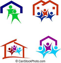 Familia feliz en un nuevo logotipo de la casa
