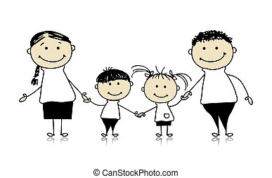 Familia feliz sonriendo juntos, dibujando