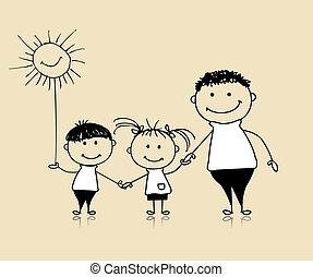 Familia feliz sonriendo juntos, padre e hijos, dibujando