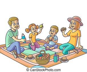 Familia feliz teniendo un picnic en el parque.
